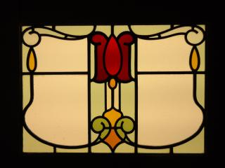 Antique Art Nouveau leaded glass