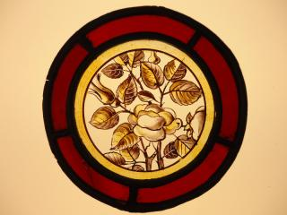 Antique hand painted stained glass
