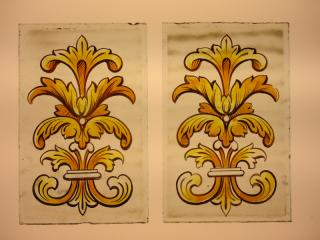 Hand painted antique stained glass